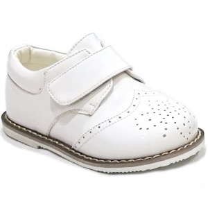 Boys Brogue White Patent Rubber Sole Velcro Shoes