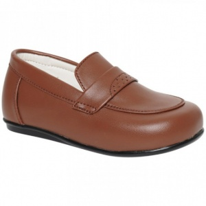 Boys Brown Tan Matt Smart Loafer Slip On Shoes