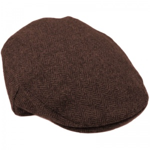 Boys Dark Brown Tweed Herringbone Flat Cap