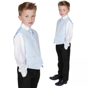 Boys Diamond Blue & Black 4 Piece Waistcoat Suit