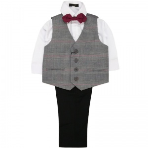 Boys Grey Tartan 4 Piece Bow Tie Suit