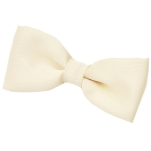 Boys Ivory Satin Plain Dickie Bow Tie on Elastic