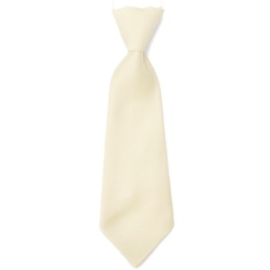 Boys Ivory Plain Satin Tie on Elastic