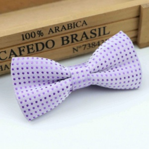 Boys Lilac Polka Dot Bow Tie with Adjustable Strap