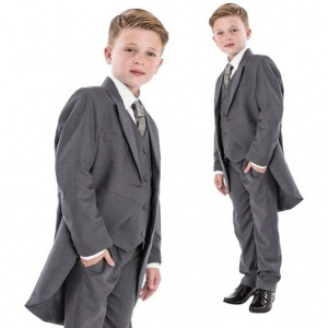 Boys Grey 5 Piece Slim Fit Tail Jacket Suit