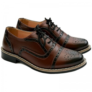 Boys Maroon Brogue Oxford Pointed Shoes