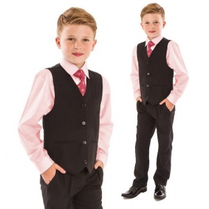 Boys Pink & Black 4 Piece Slim Fit Suit
