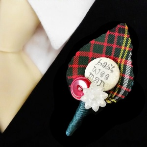 Boys Scottish Tartan Best Wee Man Buttonhole