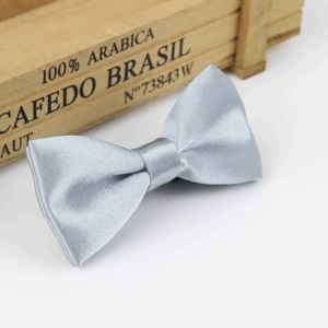 Boys Silver Satin Bow Tie with Adjustable Strap
