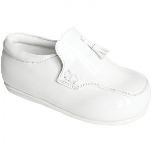 Boys White Patent Smart Tassel Loafers