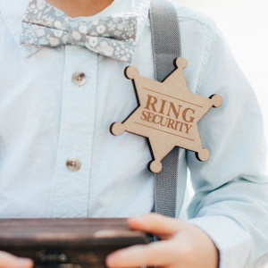 Boys Wooden ''Ring Security'' Ring Bearer Wedding Badge