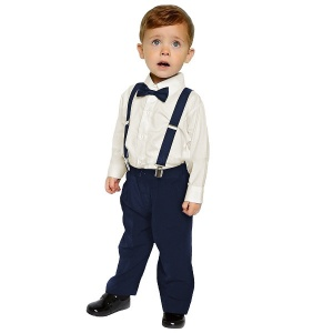 Boys Cream & Navy 4 Piece Braces & Bow Tie Suit