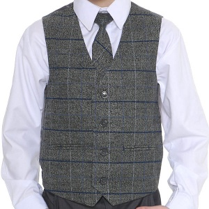 Boys Grey Tweed Look Waistcoat with Blue Check