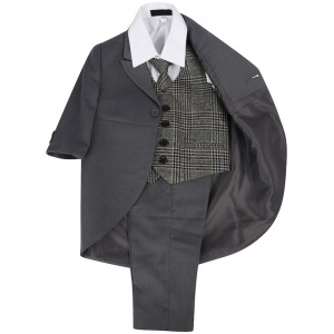 Boys Grey & Tweed Blue Check 5 Piece Tail Jacket Suit