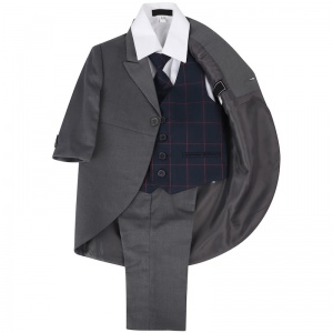 Boys Grey & Navy Check 5 Piece Tail Jacket Suit