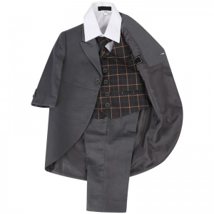 Boys Grey & Orange Check 5 Piece Tail Jacket Suit
