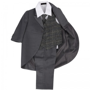 Boys Grey & Tartan Tweed Blue Check Tail Jacket Suit
