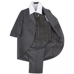 Boys Grey & Tartan Tweed Orange Check Tail Jacket Suit