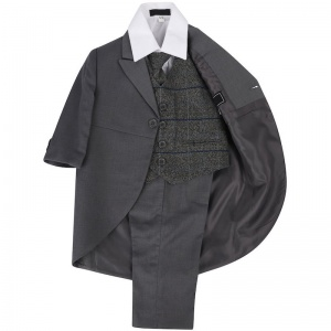 Boys Grey with Grey Tweed Check 5 Piece Tail Jacket Suit
