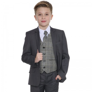 Boys Grey & Tweed Blue Check 5 Piece Slim Fit Suit