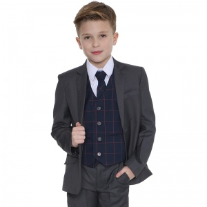 Boys Grey & Navy Check 5 Piece Slim Fit Suit