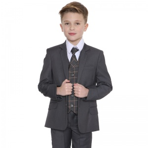 Boys Grey & Orange Check 5 Piece Slim Fit Suit
