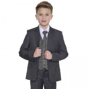 Boys Grey & Tartan Tweed Orange Check 5 Piece Suit