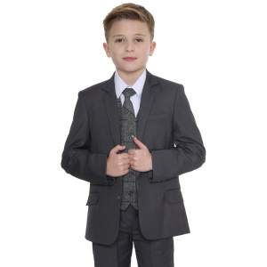 Boys Grey with Grey Tweed Check 5 Piece Suit