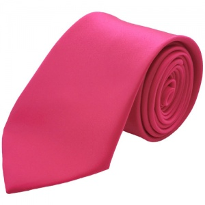 Boys Cerise / Hot Pink Plain Satin Tie (45'')