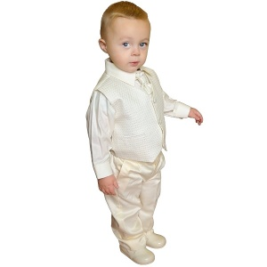 Boys Diamond Ivory / Cream 4 Piece Waistcoat Suit