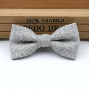 Boys Light Grey Herringbone Wool Bow Tie with Adjustable Strap