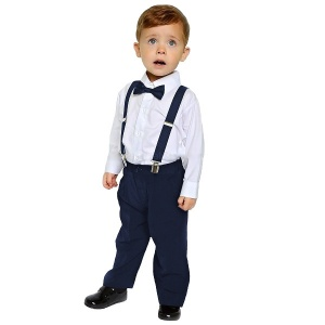 Boys Navy 4 Piece Braces & Bow Tie Suit
