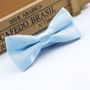 Boys Pale Blue Satin Bow Tie with Adjustable Strap