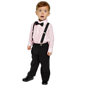 Boys Pink & Black 4 Piece Braces & Bow Tie Suit