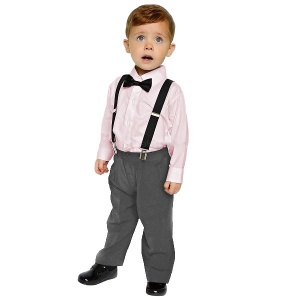 Boys Pink & Grey 4 Piece Braces & Bow Tie Suit