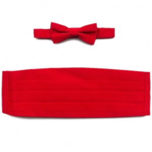 Boys Red Satin Cummerbund and Dickie Bow Tie Set