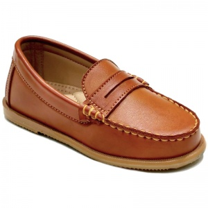 Boys Brown Tan Round Toe Slip On Loafers