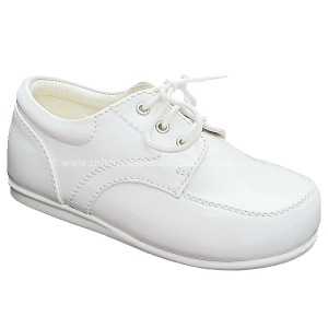Boys White Patent Formal Lace Up Shoes