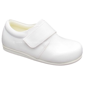 Boys White Patent Formal Velcro Shoes