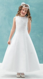 Emmerling White Communion Dress - Style Camila
