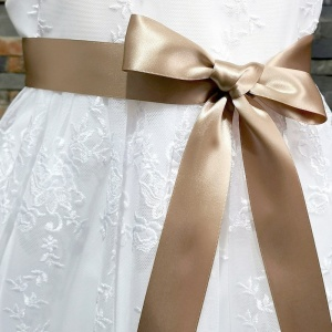 Girls Caramel Double Sided Satin Dress Sash