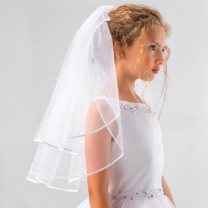 Girls Two Tier Satin Edge Communion Veil by Lacey Bell Style SV40