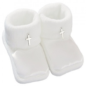 Baby White Satin Silver Cross Christening Booties