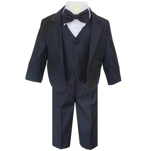 Baby Boys Dark Navy 5 Piece Bow Tie Suit