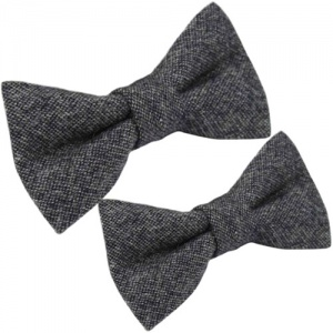 Father & Son Grey Tweed Wool Adjustable Bow Tie