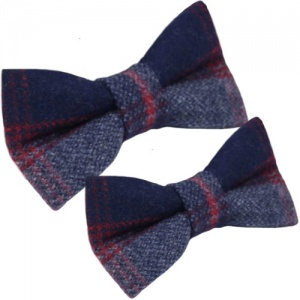 Father & Son Navy Red Check Wool Adjustable Bow Tie