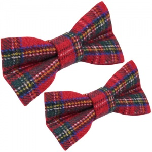 Father & Son Red Tartan Wool Adjustable Bow Tie