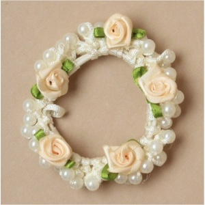 Girls Cream Rosebud & Pearl Bead Scrunchie