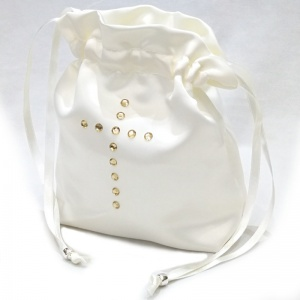 Girls Ivory Duchess Satin Diamante Cross Dolly Bag