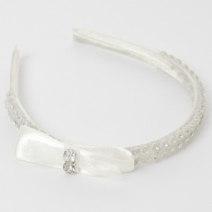 Girls Ivory Diamante & Satin Bow Headband Alice Hair Band